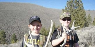 Kellen Tanner (left) and Konnar Hancock with some sheds they picked up at last weekend's 2014 Group Shed Hunt with the Oregon Shed Hunters, a group that promotes ethical shed hunting. -Photo by Rob Tanner-