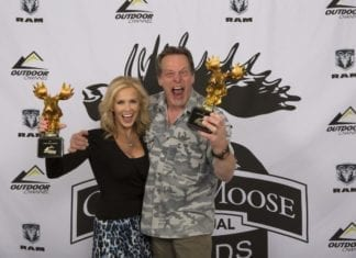 """Ted and Shemane Nugent from """"Ted Nugent Spirit of the Wild"""" on Outdoor Channel, winners of the Fan Favorite Best Host at the Golden Moose Awards."""