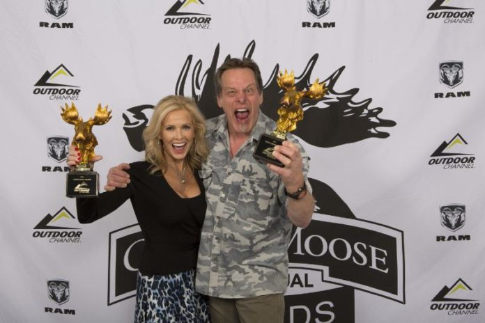 Ted and Shemane Nugent from Ted Nugent Spirit of the Wild on Outdoor Channel, winners of the Fan Favorite Best Host at the Golden Moose Awards.