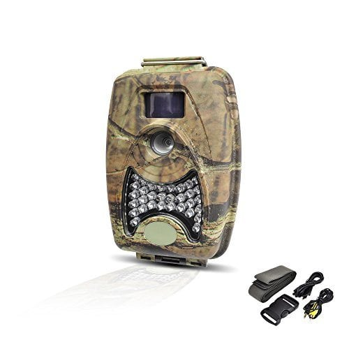 Pyle PHTCM38 Water Resistant Wild Game Trail Scouting Camera with Infrared Night Vision, Record Video, Snap Images and Invisible Flash