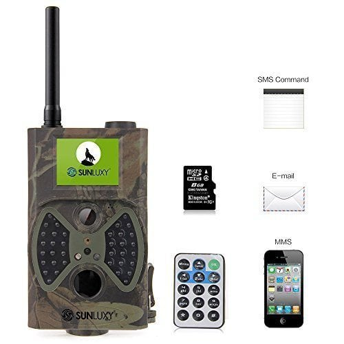 SUNLUXY 2″ LCD Screen 12MP HD Digital GSM / MMS / GPRS / SMS Control Scouting Hunting Game Trail Camera IP54 Waterproof, Night Version with 36pcs IR LED + 8GB SD Card (Camo)