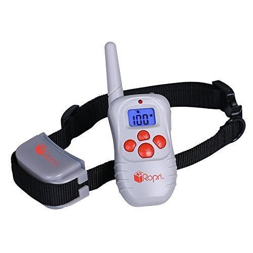 RopriPet Active Collar Dog Training Collar with Remote. 330 Yard Range Beep Vibration and Shock e-Collar. Electronic Correction Obedience Collars for your Pooch.