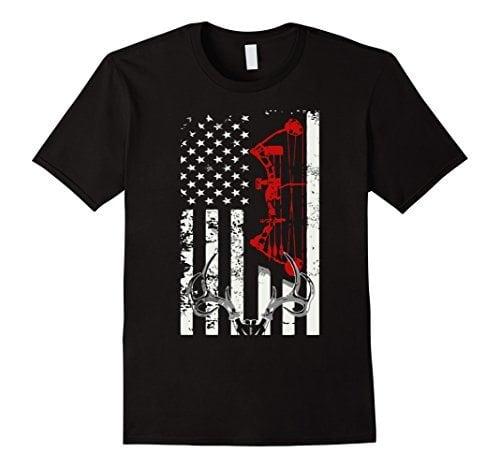 Men's Deer Hunting Flag T-shirt Large Black