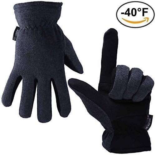 Thermal Gloves, OZERO -40°F Cold Proof Winter Glove – Genuine Deerskin Suede Leather Palm and Polar Fleece Back with Heatlok Insulated Cotton Layer – Keep Warm in Cold Weather – Gray (Medium)