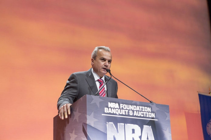Pictured: Anthony Imperato, president and owner of Henry Repeating Arms addressing the crowd during the 2016 NRA Foundation Banquet in Louisville, KY.