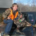 The young hunter pictured here with a nice buck he harvested during the gun deer hunting season.