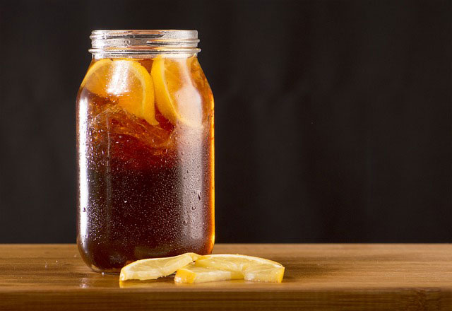 glass jar of southern lemon sweet iced tea